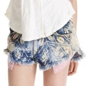 Free People Leaf Print Stripe Pocket Cut Off Short